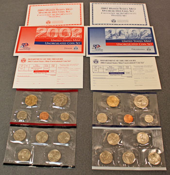 2002 Mint Set opened showing contents of uncirculated coins