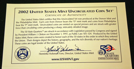 2002 Mint Set top of inside of insert describing the uncirculated coins