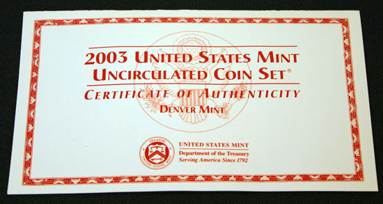 2003 Mint Set front of insert