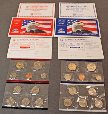 2003 Mint Set opened showing contents of uncirculated coins and inserts