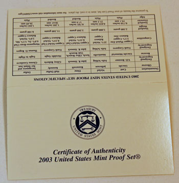 2003 Proof Set certificate of authenticity outside