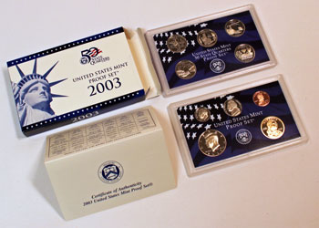 2003 Proof Set opened showing proof coins and contents