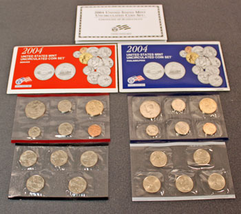 2004 Mint Set opened showing contents of uncirculated coins