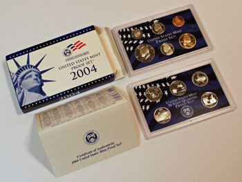 2004 Proof Set opened showing proof coins and contents
