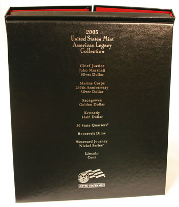 2005 American Legacy Collection Proof Coins Set back of interior box