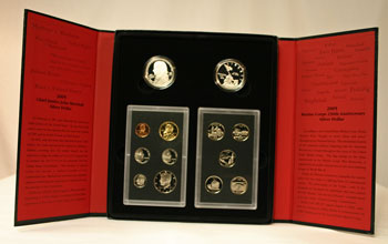 2005 American Legacy Collection Proof Coins Set package open