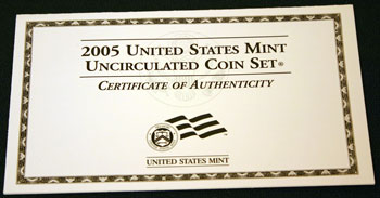 2005 Mint Set front of Certificate of Authenticity
