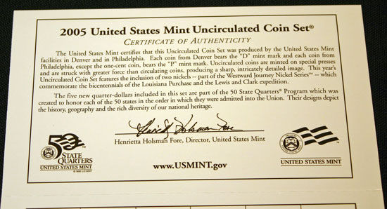 2005 Mint Set top of the inside of the Certificate of Authenticity