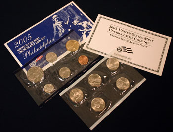2005 Mint Set Philadelphia envelope opened showing uncirculated coins
