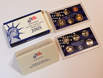 2005 Proof Set opened showing proof coins and contents