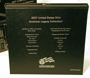 2007 American Legacy Collection Proof Coins Set inside box back