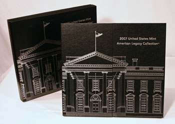 2007 American Legacy Collection Proof Coins Set package standing