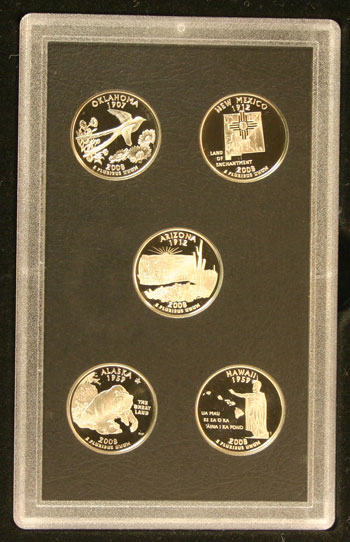 2008 American Legacy Proof Coins Set state quarters reverse