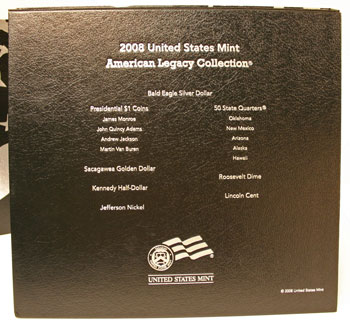 2008 American Legacy Proof Coins Set box back