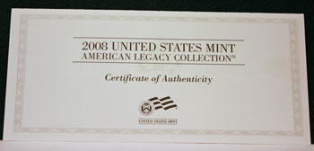 2008 American Legacy Proof Coins Set certificate front