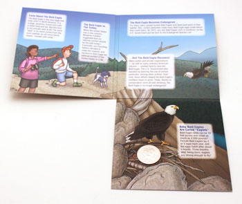 2008 Bald Eagle Young Collectors coin sets package contents unfolded twice