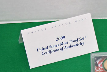 2009 Proof Set Certificate of Authenticity folded