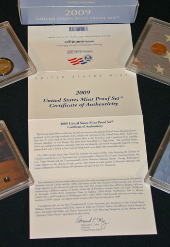 2009 Proof Set Certificate of Authenticity message