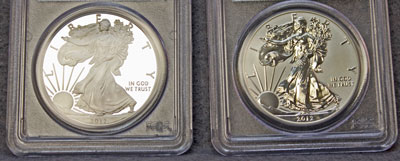 2012 American Eagle Silver coins obverse certified proof 69