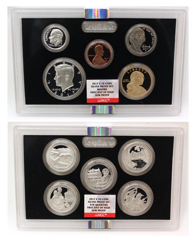 2017 Silver Proof Set lenses with First Day of Issue certification