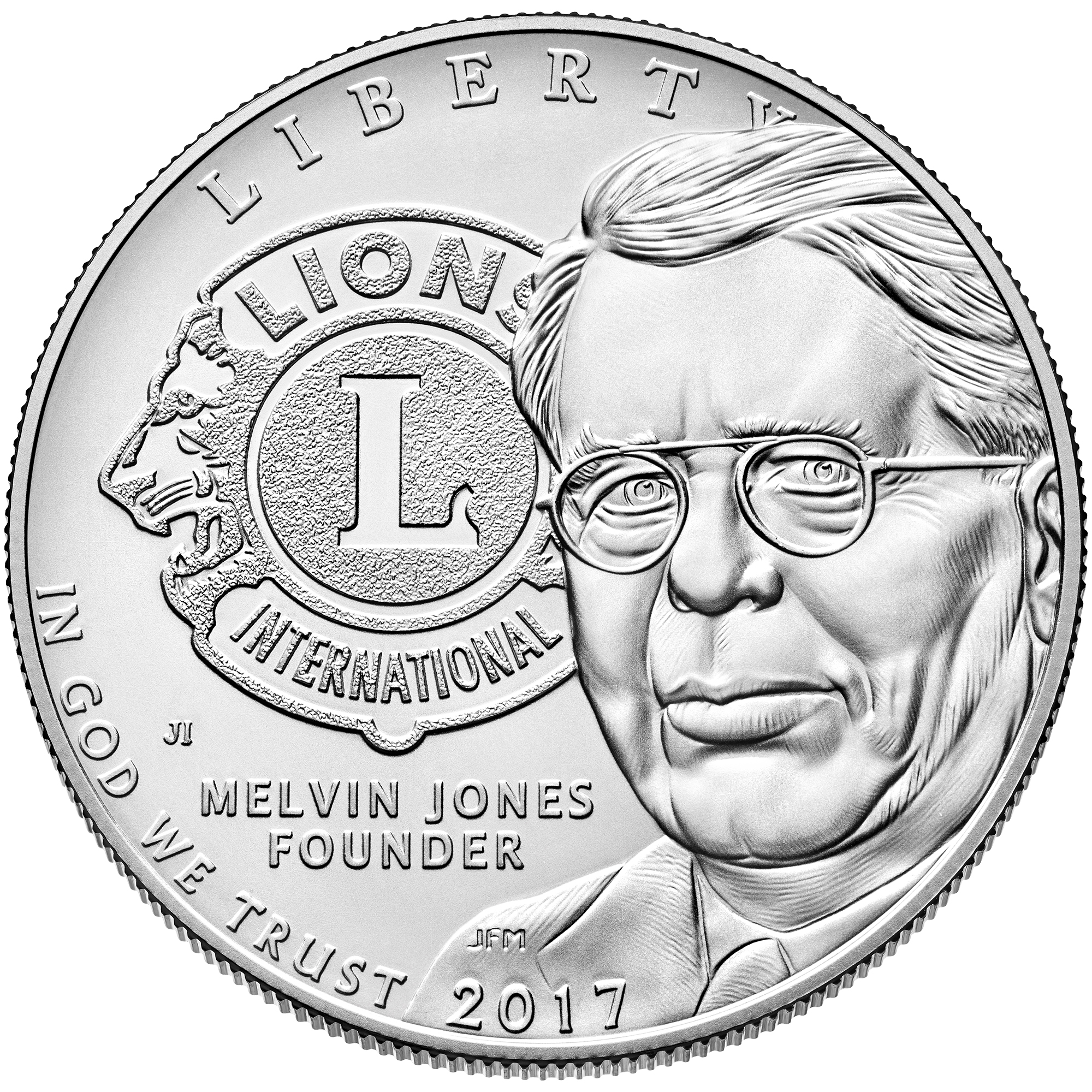 Obverse Uncirculted Lions Club 2017 Commemorative Silver Dollar Coin