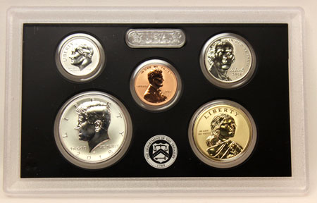 2018 Silver Reverse Proof Coins half, dime, cent, nickel, and dollar