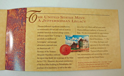 Thomas Jefferson Coin and Currency Set Booklet page 6