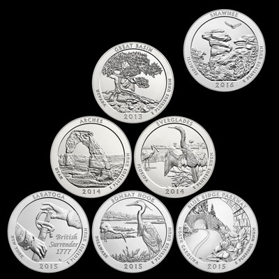 Seven America the Beautiful Coins