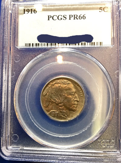 1916 Buffalo Indian Head Nickel PCGS PR-66