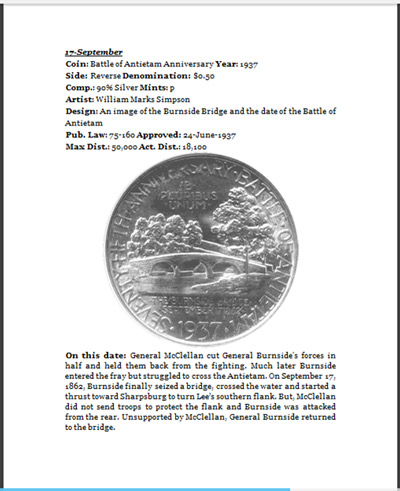 Days of Our Coins September 17 with Battle of Antietam Silver Half Dollar