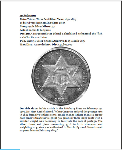Days of Our Coins February 27 with three-cent silver trime