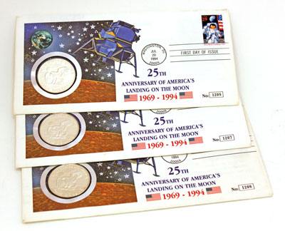 Moon Landing 25th anniversary first day covers stamp and coin