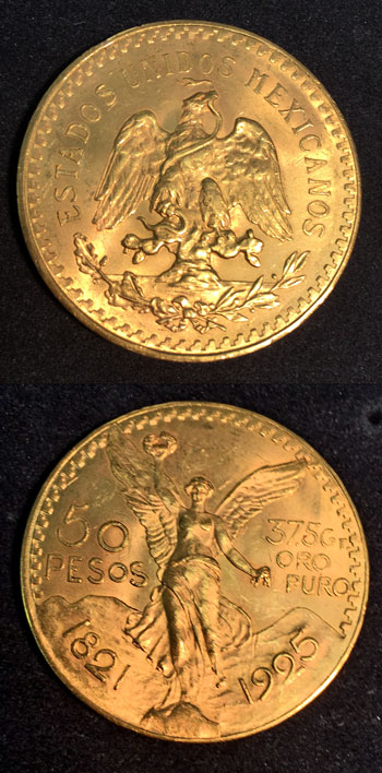 Gold 50 Pesos coin 1925 obverse and reverse views