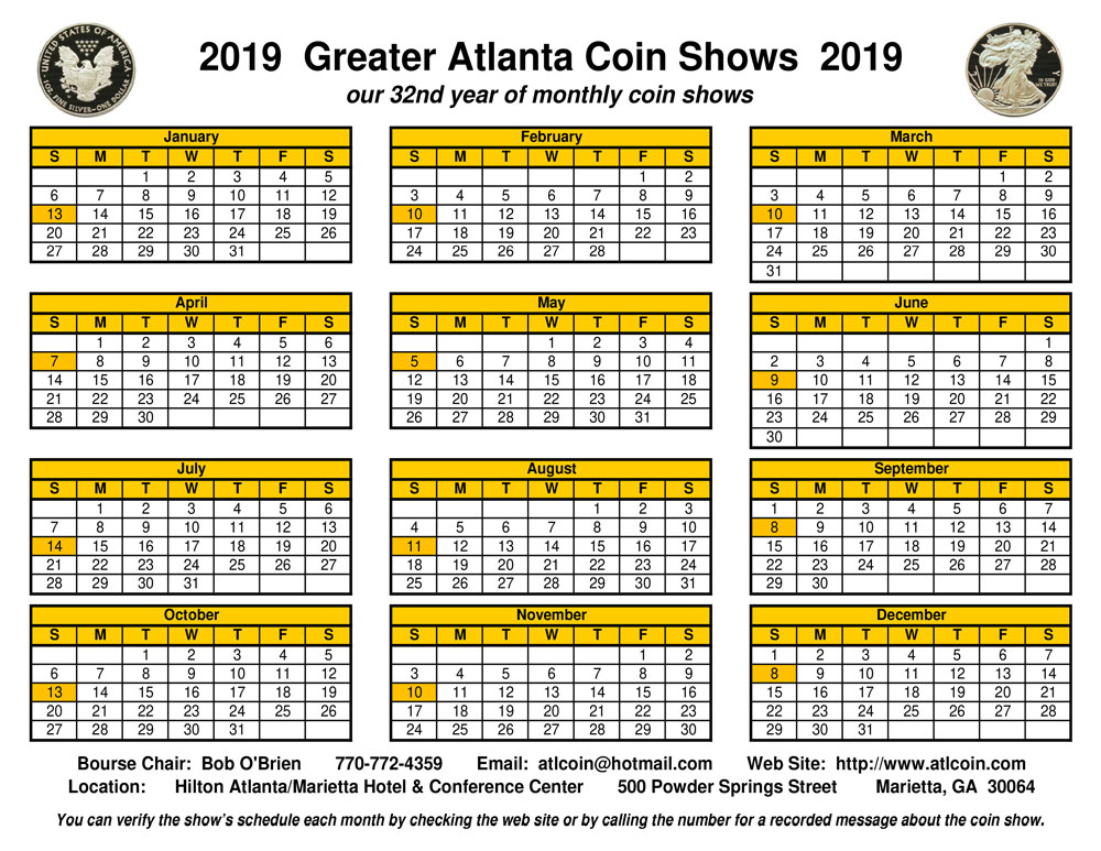 Greater Atlanta Coin Show Calendar 2019 small