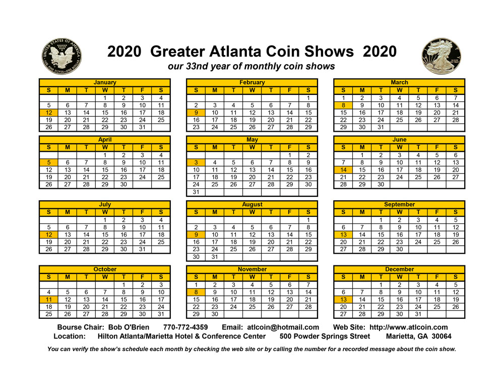 Greater Atlanta Coin Show Calendar 2020 small