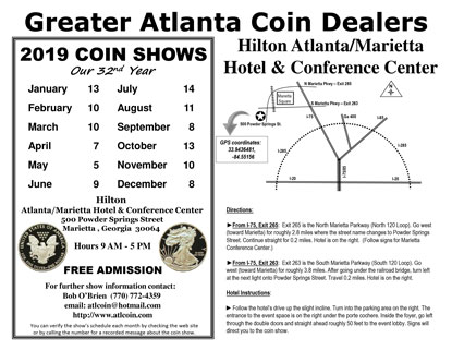 Greater Atlanta Coin Show Flyer 2019 small