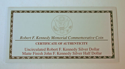 Kennedy Collector's Set Certificate of Authenticity
