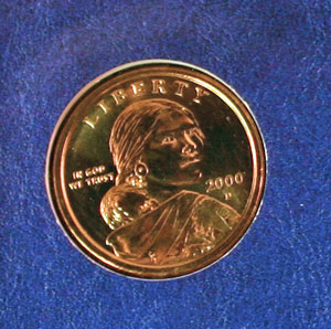 Millennium Coin and Currency Sacagawea dollar obverse