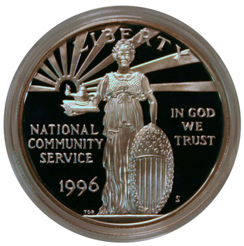 National Community Service 1996 Commemorative Silver Dollar obverse