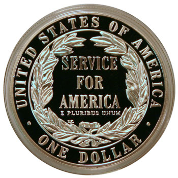 National Community Service 1996 Commemorative Silver Dollar reverse