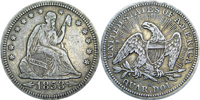 Liberty Seated Quarter Coin 1853 Variety 2