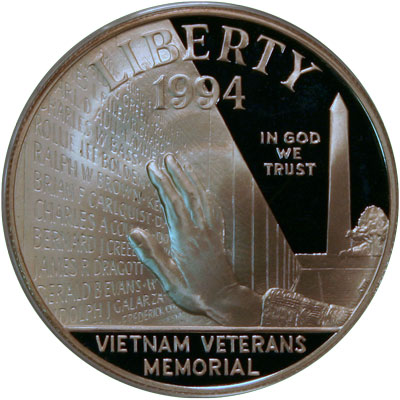Vietnam Veterans Memorial 1994 Commemorative Silver Dollar Coin obverse