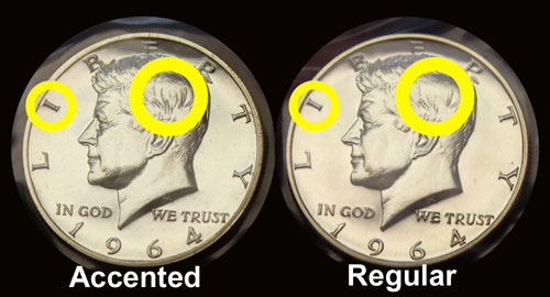 1964 Kennedy half dollar coin comparison with accented hair noted