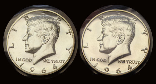 1964 proof Kennedy Half Dollar Coin comparison accented versus regular hair