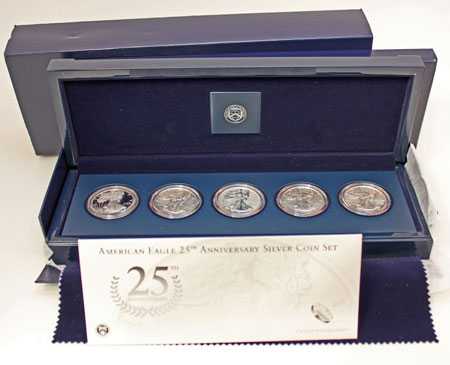 Silver American Eagle 25th Anniversary Five-Coin Set 2011
