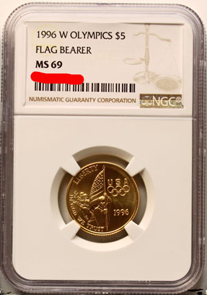 1996 XXVI Olympiad Flag Bearer Five-Dollar Gold Coin obverse