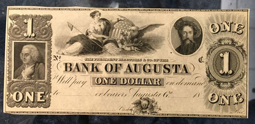 Bank of Augusta One Dollar Note mid-1800s