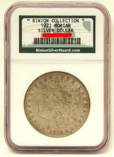 Binion Collection 1921 Morgan Silver Dollar Coin
