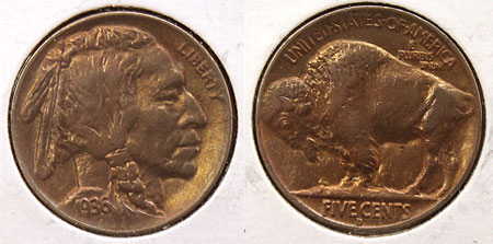 Buffalo Five Cent Coin 1936-D