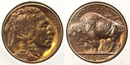 Buffalo Five Cent Coin 1937-S San Francisco